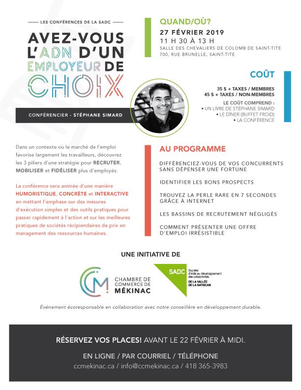 Les conférences de la SADC - Avez-vous l'ADN d'un employeur de choix?